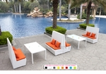 White Wicker - UV Protected & Water Resistant Seating - Set of Four Tall Benches and Two Dining Tables