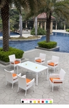 White Wicker - All-Weather Collection- Set of One Dining Table with Six Dining Chairs