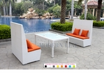 White Wicker - UV Protected & Water Resistant Seating - Set of Two Tall Benches and a Dining Table