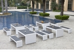 White Wicker - All-Weather Collection - Set of Four Dining Tables and Eight Benches