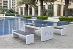 White Wicker - All-Weather Collection - Set of One Dining Table and Two Benches
