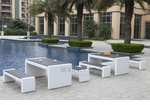 White Wicker - All-Weather Collection - Set of Two Dining Tables and Four Benches