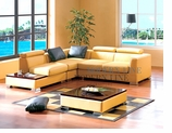 Yellow Leather Contemporary Sectional Sofa