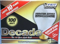 (4 PACK) Feit Decade 100W 120V A19 Frosted Long Life E26 Base, 100A25K