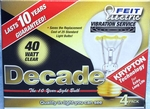 (4 PACK) Feit Decade 40W 120V A19 Clear Long Life Bulb E26 Base, 40ACL25K