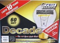 (4 PACK) Feit Decade 60W 120V A19 Clear Long Life Bulb E26 Base, 60ACL25K