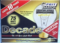 (4 PACK) Feit Decade 75W 120V A19 Clear Long Life Bulb E26 Base, 75ACL25K