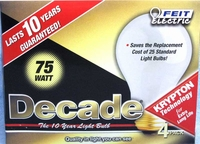 (4 PACK) Feit Decade 75W 120V A19 Frosted Long Life Bulb E26 Base, 75A25K