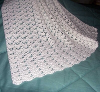 """Crocheted Baby Afghan, White, Hand Made, 24"""" x 44"""" US-2158"""