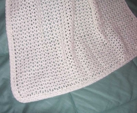 """Crocheted Baby Afghan, White, Hand Made, 25"""" x 34"""" US-2162"""