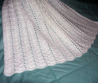 """Crocheted Baby Afghan, White Ripple, Hand Made, 32"""" x 45"""", US-2159"""
