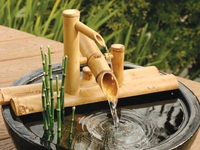Bamboo Rocking Fountain (Deer Scarer) and Pump Kit for Bowls (7.5 Inch)