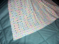 """Crocheted Baby Afghan, Variegated, Hand Made, 34"""" x 42"""", US-2164"""