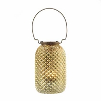 Diamond Patterned Glass Candle Lantern 15202