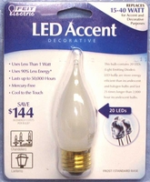 Feit Accent LED 1.1W CA9.5 Frosted Flame-Tip Candelabra Bulb E26 BPEFF/LED