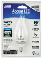 Feit Accent LED 1.1W CA9.5 Clear Flame Tip 70 Lumens Candelabra Bulb E12 BPCFFLED