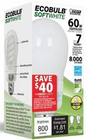 Feit ECOBulb Plus 15W / 60W 120V A19 Soft White CFL E26 Medium Base ESL15A/ECO