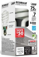 Feit ECOBulb Plus 18W / 75W 120V A19 Cool White Twist CFL E26 Medium Base ESL18TM/ECO/41K