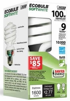 Feit ECOBulb Plus 23W / 100W 120V A19 Soft White Twist CFL E26 Medium Base ESL23TM/ECO