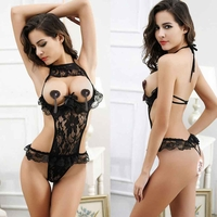 Floral Lace Sexy Lingerie Teddy, Cut Out Mesh / Open Crotch / Open Bust, Black