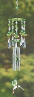 Green Crystal Hummingbird Wind Chime, 13 inches 12506