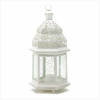 Large White Filigree Candle Lantern, 15 inches  38466