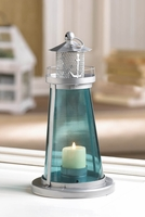 Lighthouse Candle Lantern, Blue 10015433