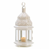 Moroccan Style Candle Lantern, White D1064