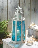 Ocean Blue Lighthouse Candle Lantern, 13 3/4 inches 15217