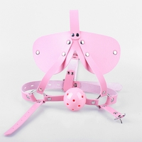 Pink Dribble Ball Gag Locking Leatherette Head Harness w/Blindfold