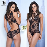 "Sexy Lingerie Black Floral Teddy with Lace Up Front and Back (Waist 28-35"")"