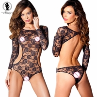 "Sexy Lingerie Lace Cut Out Teddy with Sleeves, Open and Sides (Waist 24-35"")"