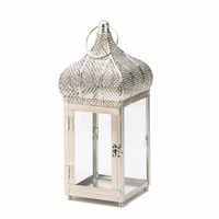 Silvery Domed Moroccan Candle Lantern, 13 inches 10015341