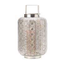Tall Silvery Lace Candle Lantern 15277