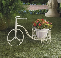 White Tricycle Planter 10015694