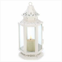 White Victorian Candle Lantern, Small, 8 inches 13360