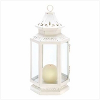 White Victorian Lantern, Medium 10 1/2 inches 13362