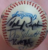 1987-1988 Baltimore Orioles autographed AL baseball (Eddie Murray Billy Ripken Cal Ripken Sr Larry Sheets)