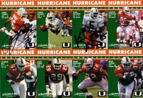 1992 Miami Hurricanes autographed card set (Darrin Smith Lamar Thomas Gino Torretta Kevin Williams)