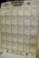 1992 Starting Lineup Baseball Card poster size uncut collector sheet