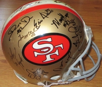 1994 San Francisco 49ers Super Bowl 29 Champions team autographed full size game model helmet Jerry Rice Deion Sanders Steve Young