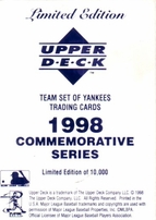 1998 New York Yankees Upper Deck 15 jumbo card set (Derek Jeter Andy Pettitte Mariano Rivera)