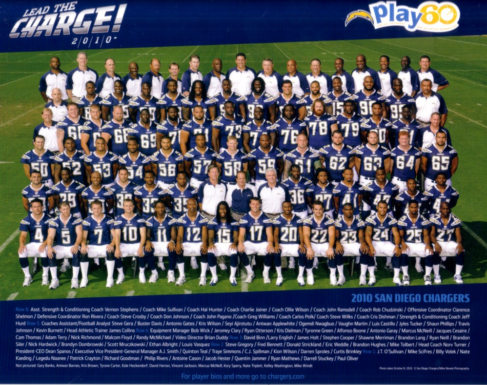 2010 San Diego Chargers 8x10 Team Photo Philip Rivers