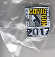 2017 San Diego Comic-Con booklet checklist pin and swag gift box