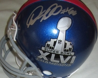 Antrel Rolle & David Diehl autographed New York Giants Super Bowl 46 Champions mini helmet