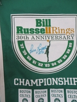 Bill Russell autographed Boston Celtics Mitchell & Ness felt 18x36 banner