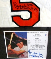 Brooks Robinson autographed Baltimore Orioles 1966 Mitchell & Ness jersey matted & framed with autographed 8x10 photo card