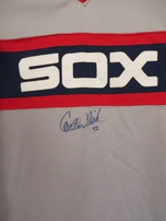 Carlton Fisk autographed Chicago White Sox authentic original Sand Knit game model road jersey