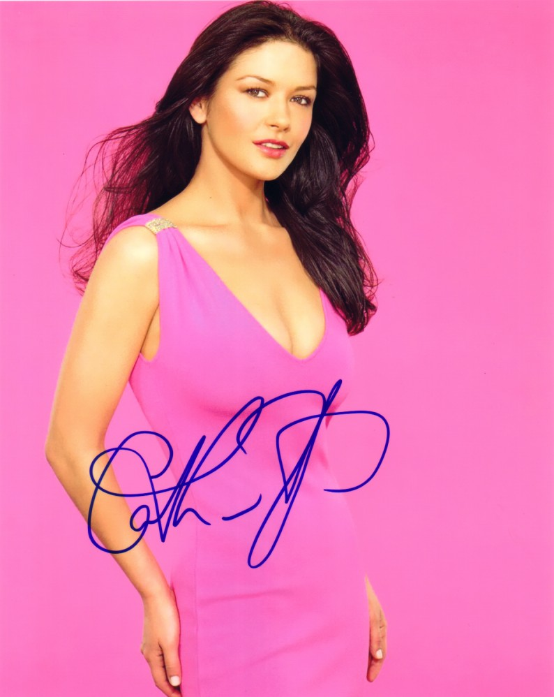 catherine zeta jones autographed 8x10 pink dress photo actress