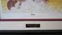 Michael Jordan Airborne lithograph autographed by artist Dan Gardiner matted & framed #14/100